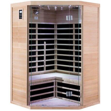 SNÖ Sauna infrarouge d'angle panneaux carbone 2180W LUXE 2-3 places - SNÖ
