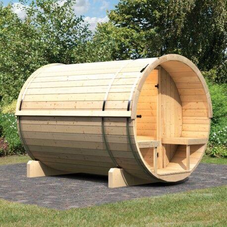 Karibu Sauna d'extérieur Tonneau 2 - 4 à 6 places en épicéa massif 42mm KARIBU