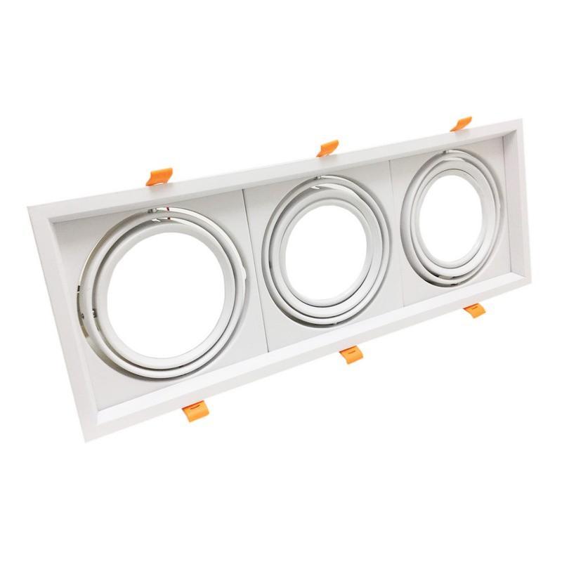 Silamp Support Triple Orientable BLANC Encastrable pour Ampoule AR111 - Blanc