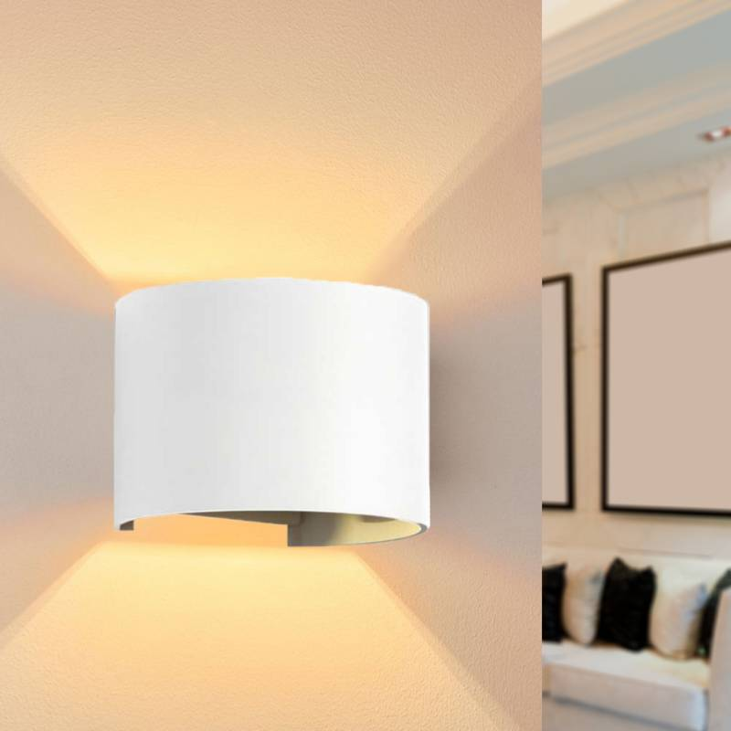 SILAMP Applique Murale Blanche LED 6W IP54 Rond - Blanc Chaud 2300K - 3500K