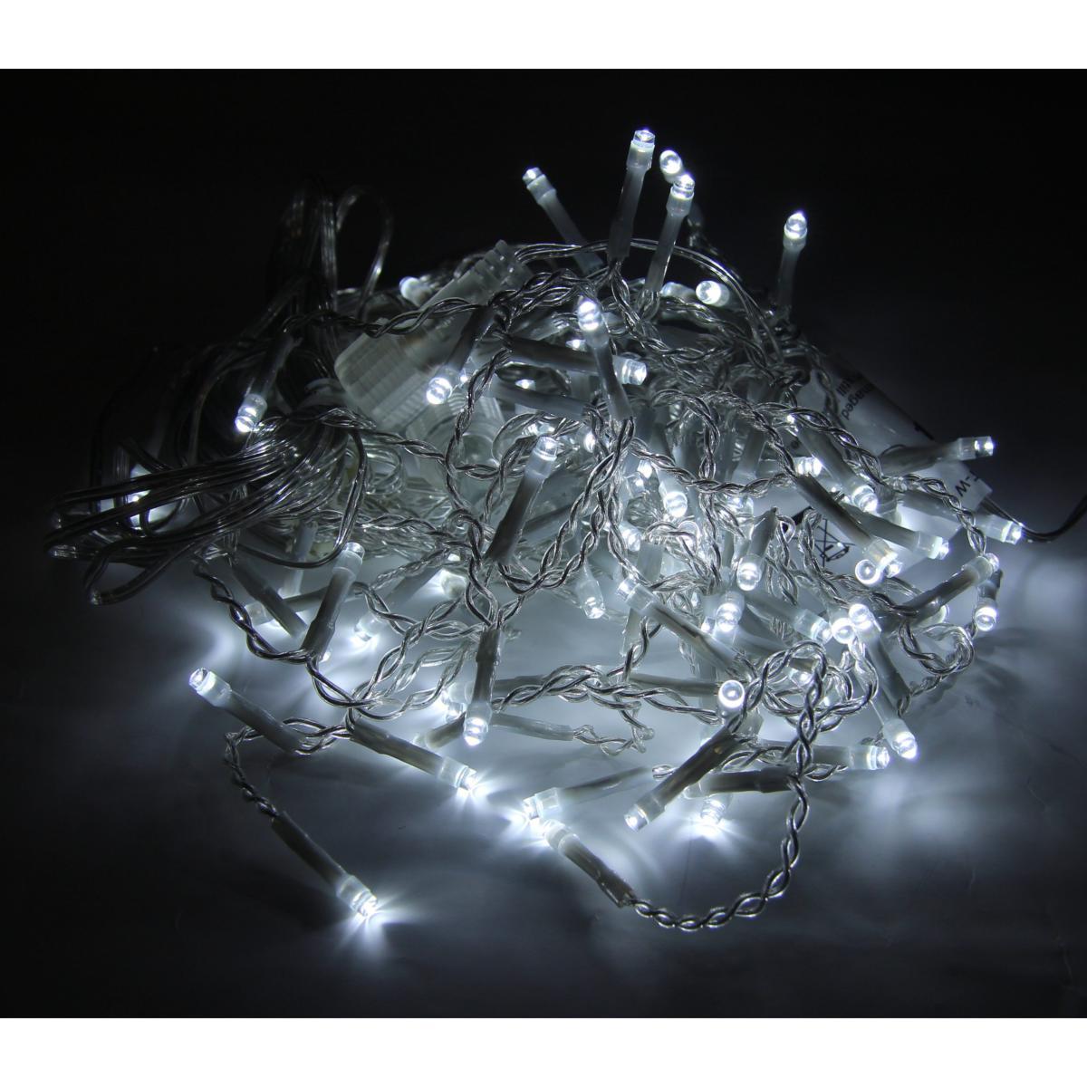 SILAMP Rideau Guirlande LED 31V 3M IP44 100 LED TRANSPARENT (Guirlande seule) - Blanc Froid 6000K - 8000K