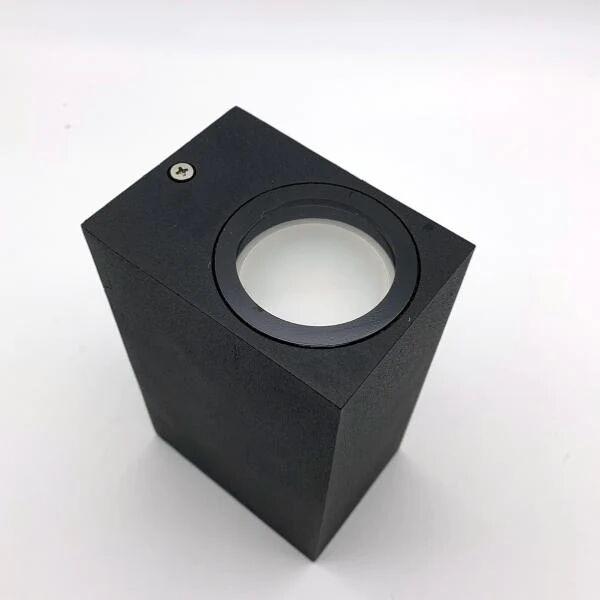 SILAMP Applique Murale Noire LED IP44 double faisceau GU10 Carrée