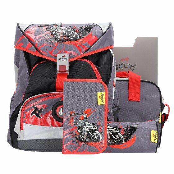 DerDieDas Ergo Flex XL Cartable et accessoires ( Ensemble de 5 pcs) ninja on bike