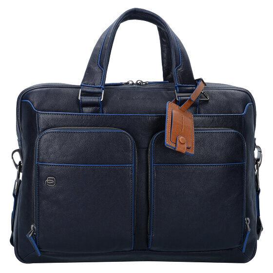 Piquadro Blue Square Special Serviette cuir 39 cm compartiment Laptop blu