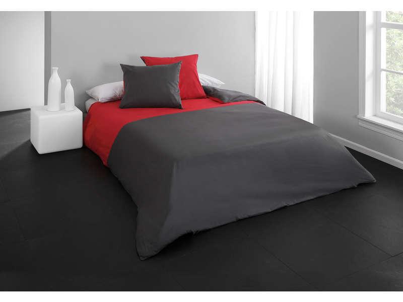 CONFORAMA Parure housse de couette 260X240 cm + 2 taies d'oreiller PERLA coloris rouge/gris