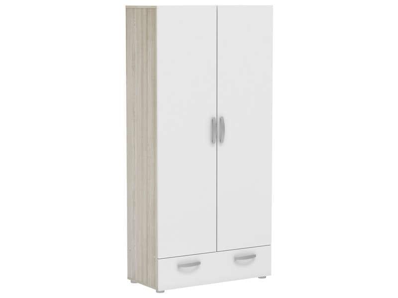 CONFORAMA Armoire 2 portes 1 tiroir NANO coloris chêne shannon/ Blanc