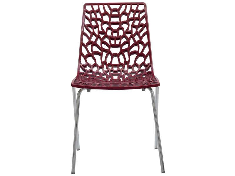 CONFORAMA Chaise GROOVE 2 coloris rouge