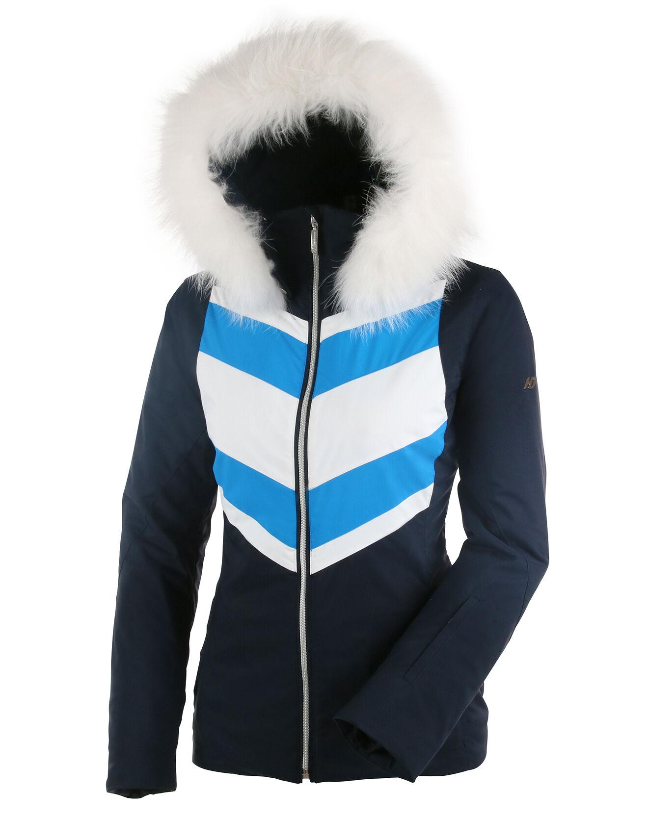 Duvillard - Veste de ski Dufour fourrure véritable marine/blanc