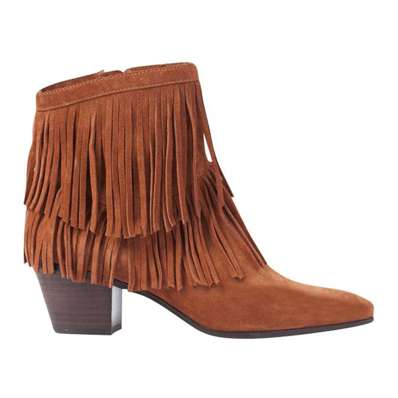 What For - Bottines en velours de Cuir western camel - Talon 5 cm