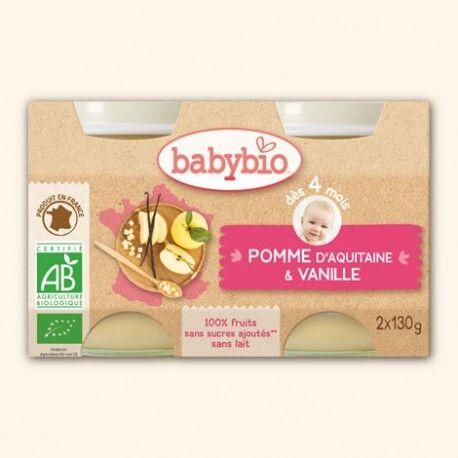 BABYBIO Petit Pot Fruits Pomme d'Aquitaine Verveine de France - 2 x 130g -...