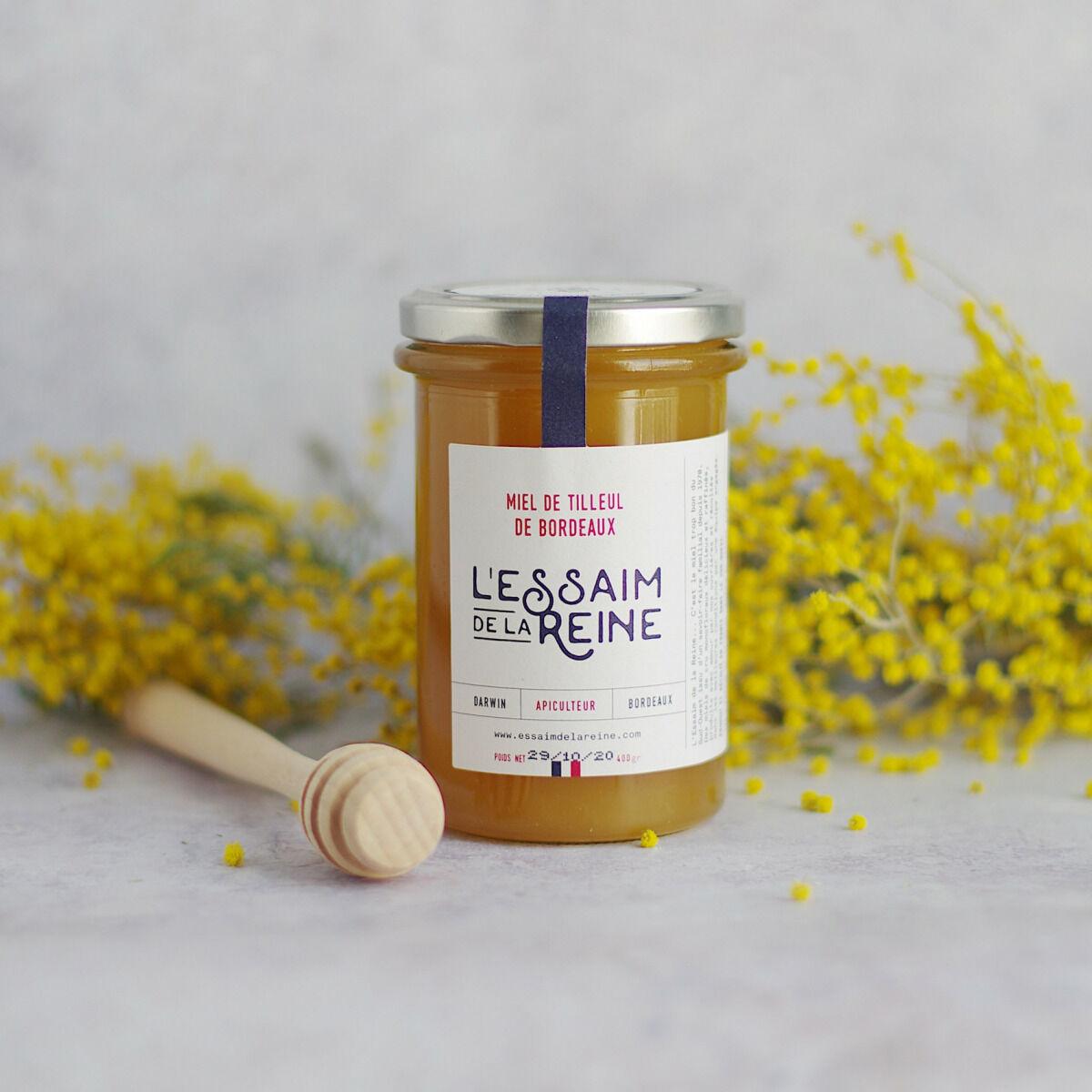 L'Essaim de la Reine Miel de Tilleul de Bordeaux - 400g - miel crémeux récolté en France par l'apiculteur