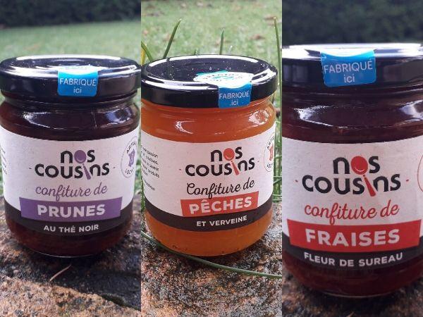 Nos cousins Conserverie Trio De Confitures Infusées: Pêche-verveine, Fraise-fleur De Sureau, Prune-thé Noir (3x240g)