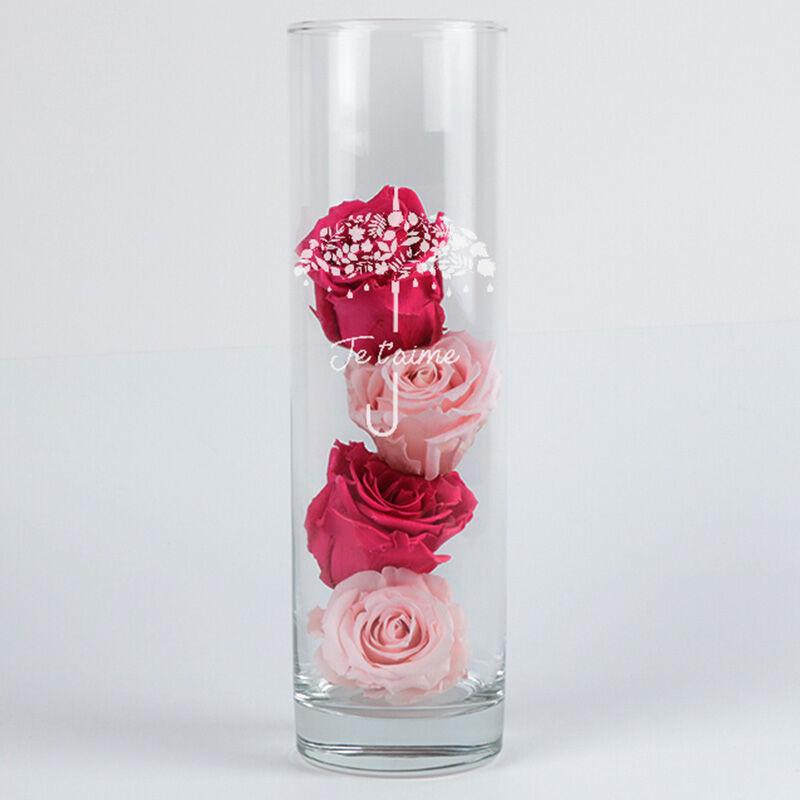 Interflora Bouquet Roses éternelles et leur vase gravé Je t'aime