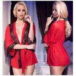 chilirose  Chilirose Déshabillé Rouge avec Bande de Dentelle Noire Kimono... par LeGuide.com Publicité