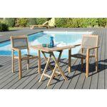AUCUNE Ensemble de jardin en teck : 1 table carrée pliante 70 x70 cm... par LeGuide.com Publicité