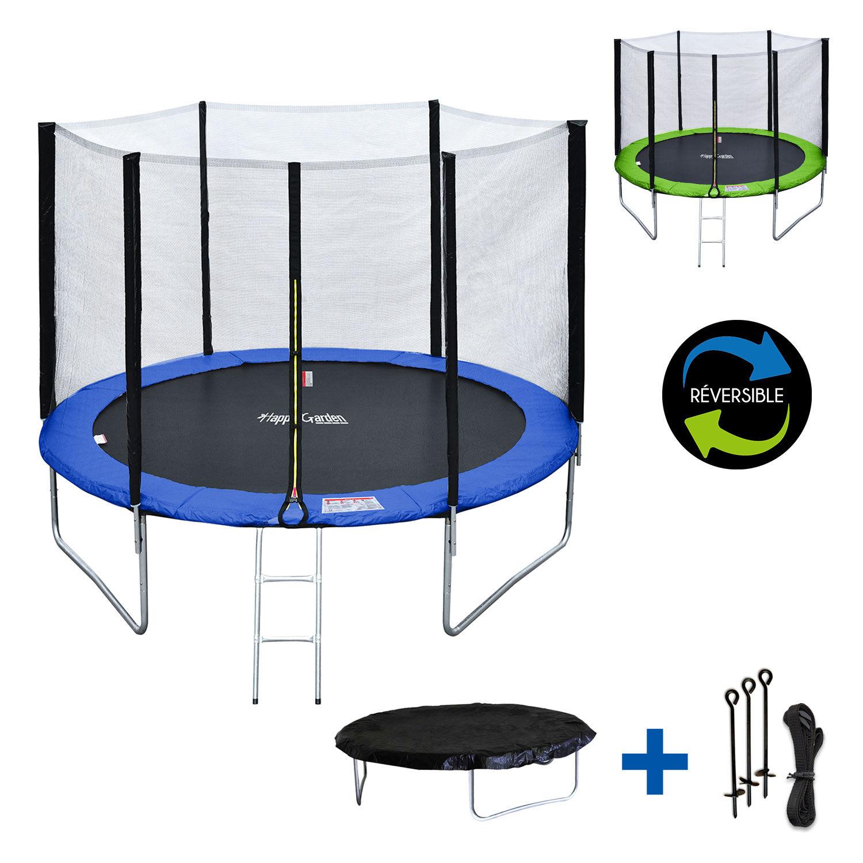 Happy Garden Pack Premium Trampoline 305cm réversible bleu / vert ADELAÏDE + filet, échelle, bâche et kit d'ancrage