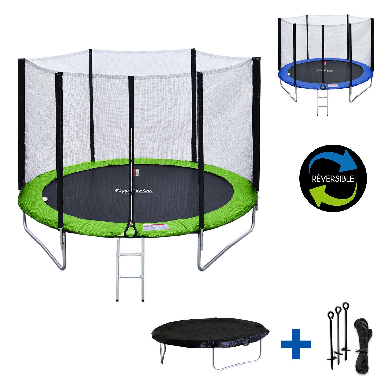 Happy Garden Pack Premium Trampoline 180cm réversible vert / bleu CAIRNS + filet, échelle, bâche et kit d'ancrage