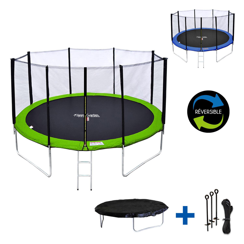Happy Garden Pack Premium Trampoline 370cm réversible vert / bleu PERTH + filet, échelle, bâche et kit d'ancrage