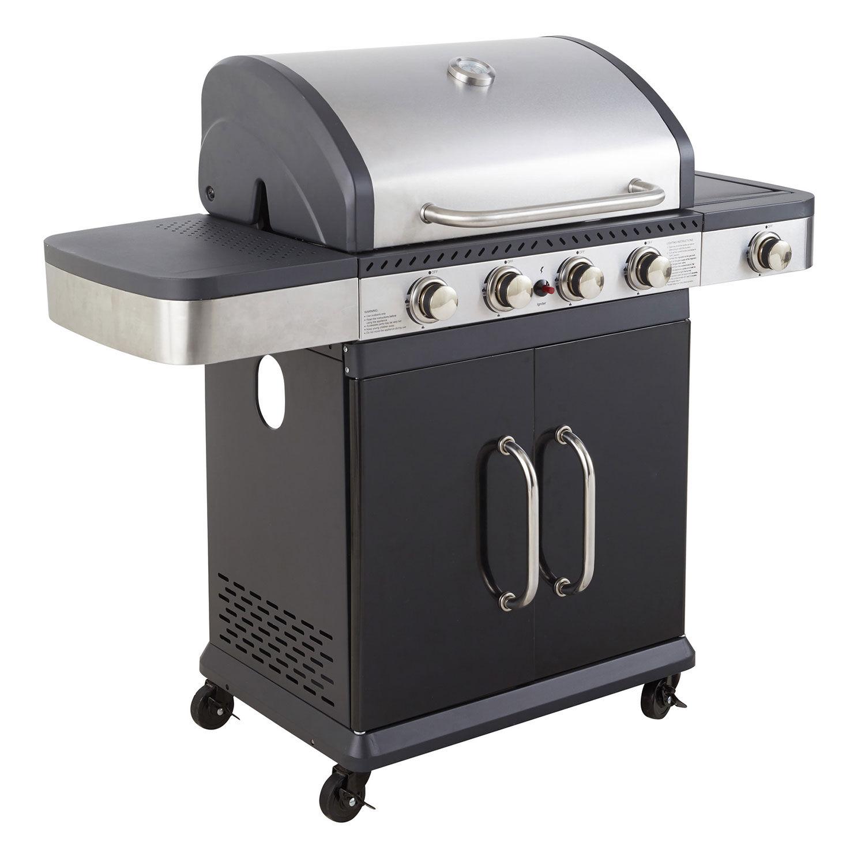 Cook'in Garden - Barbecue au gaz FIDGI 4 avec thermomètre - 4 brûleurs + réchaud 14,5kW