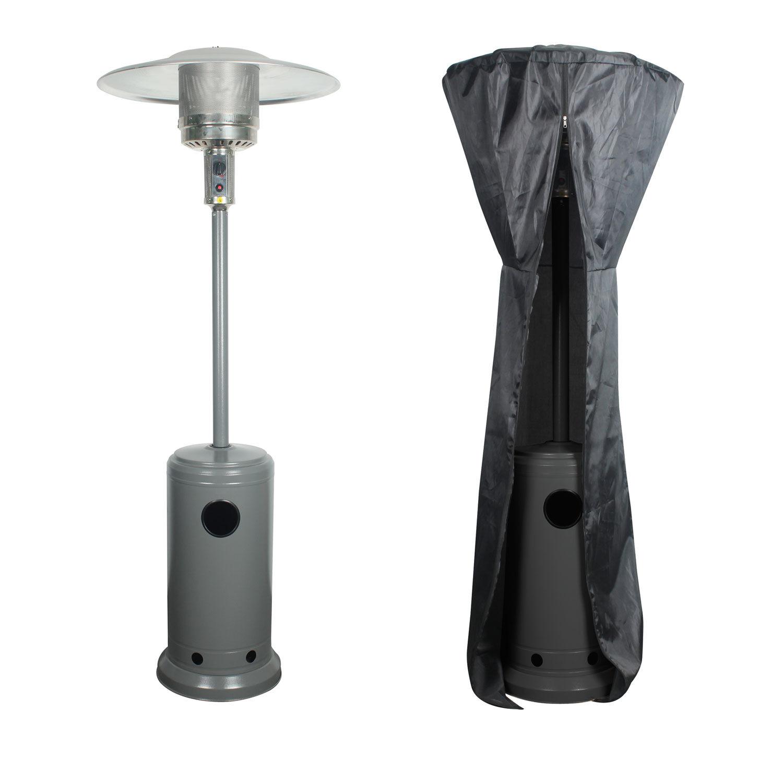 Happy Garden Parasol chauffant OSLO - chauffage d'extérieur gaz 12kW - acier gris + housse