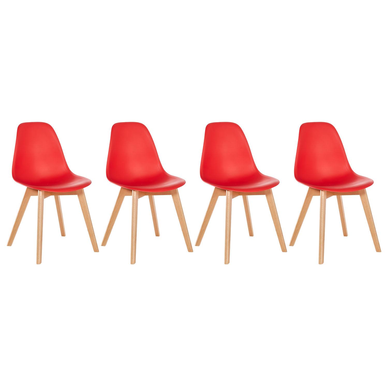 Happy Garden Lot de 4 chaises scandinaves LIZ rouge