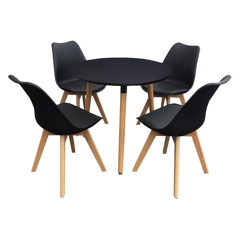 Happy Garden Ensemble table et chaises scandinave NOLA noir