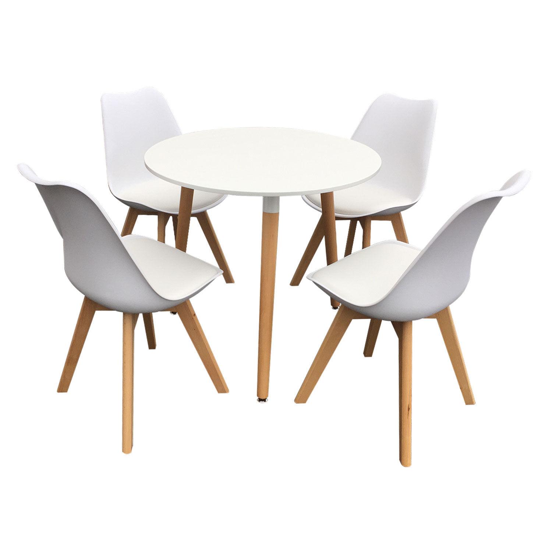 Happy Garden Ensemble table et chaises scandinave NOLA blanc