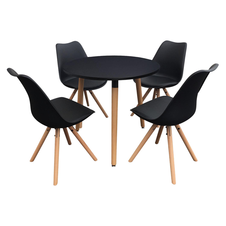 Happy Garden Ensemble table et chaises scandinave RITA noir