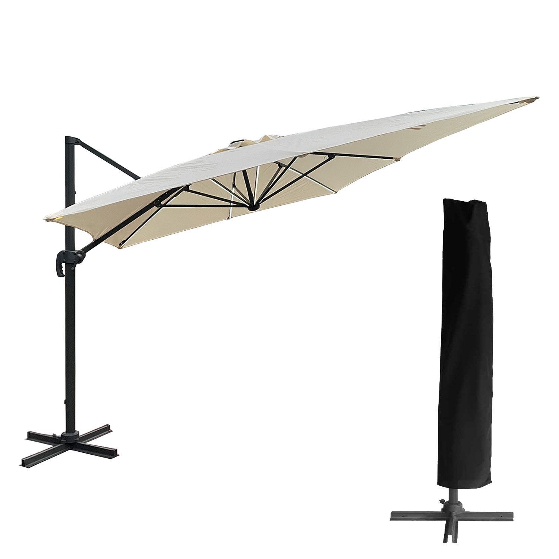 Happy Garden Parasol déporté MOLOKAI rectangulaire LED 3x4m beige + housse