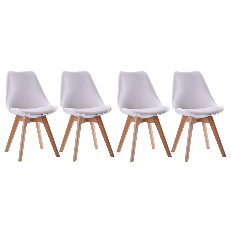Happy Garden Lot de 4 chaises scandinaves NORA blanches avec coussin