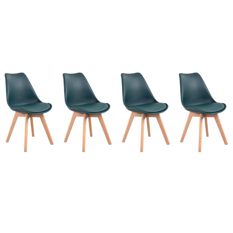 Happy Garden Lot de 4 chaises scandinaves NORA bleues avec coussin