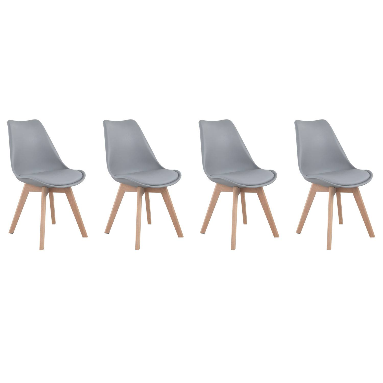 Happy Garden Lot de 4 chaises scandinaves NORA grises avec coussin
