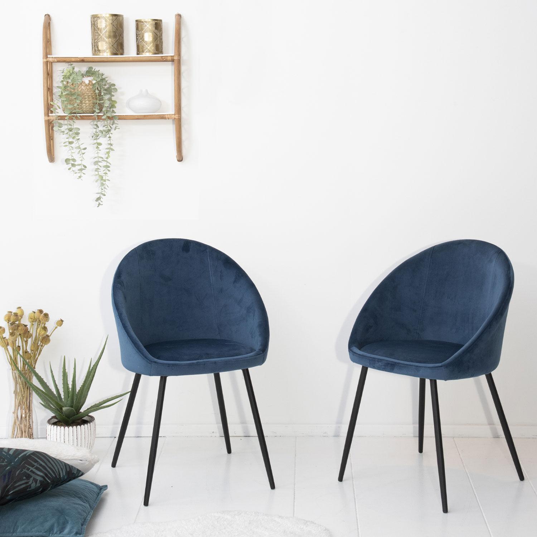 Happy Garden Lot de 2 chaises vintage DIANE velours bleu