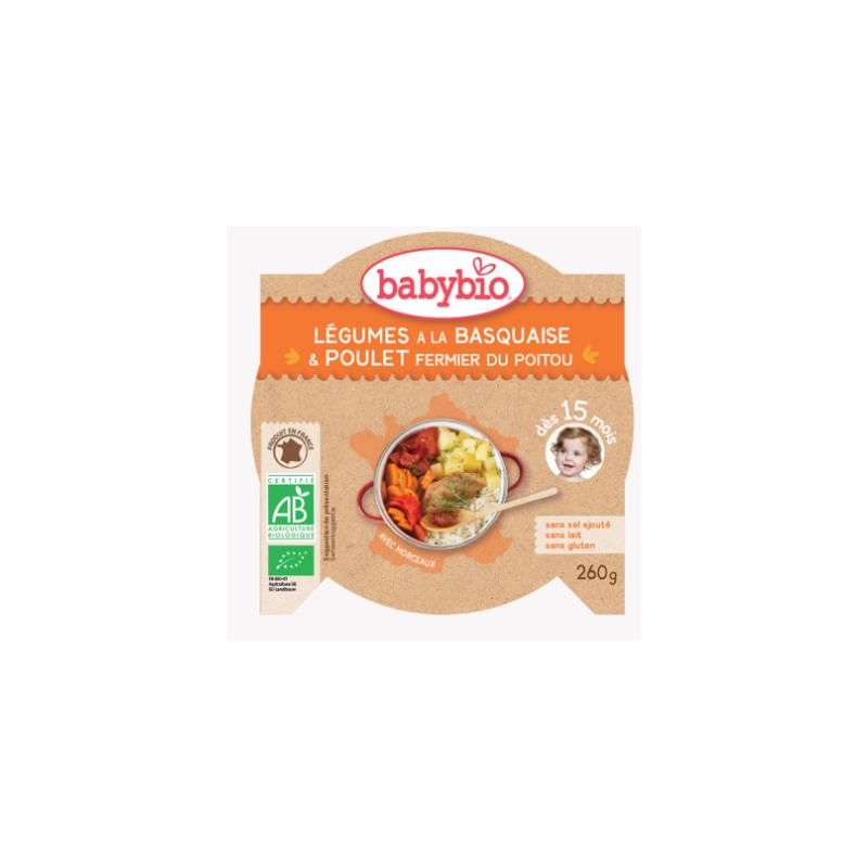 Babybio Légumes à la basquaise poulet fermier du poitou dès 15mois, 260g