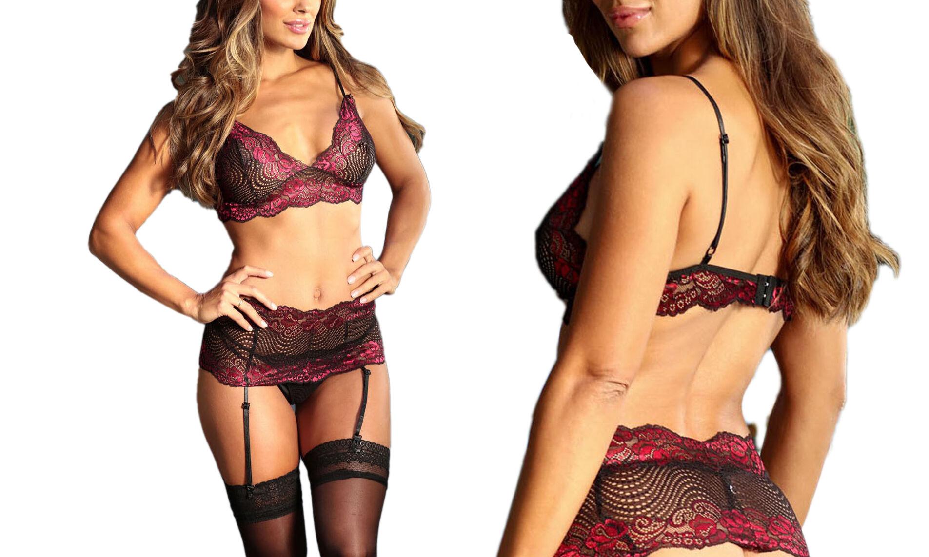 Groupon Goods Ensemble lingerie 3 pièces : Rouge / Taille XL