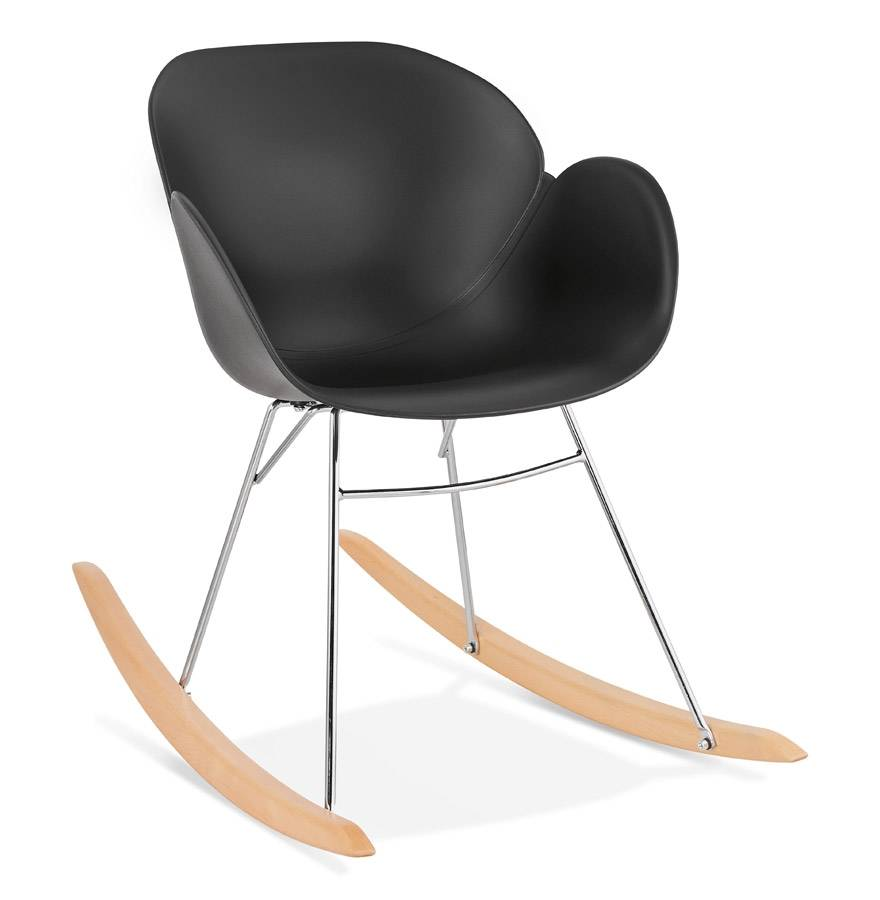 Alterego Chaise à bascule design 'BASKUL' noire en matière plastique
