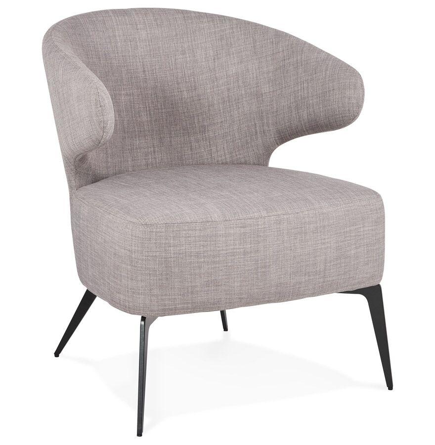 Alterego Fauteuil lounge design 'SOTO' en tissu gris et pieds en métal noir