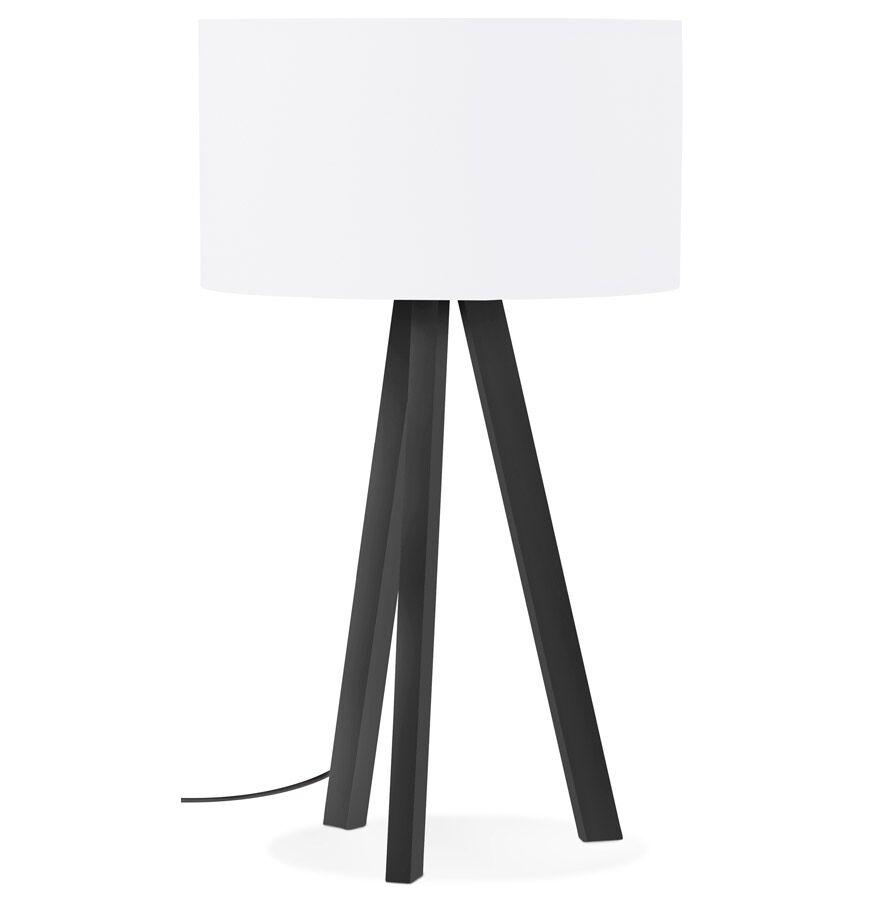 Alterego Lampe à poser design 'SPRING MINI' avec abat-jour blanc et trépied noir