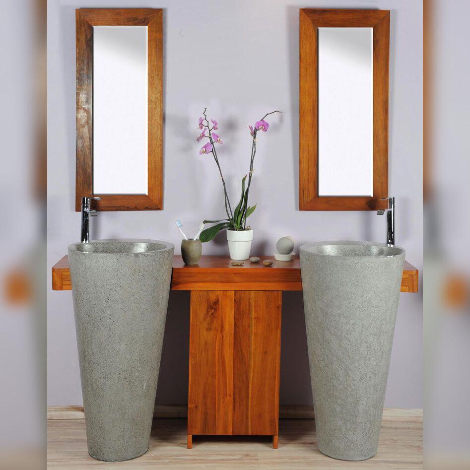Saniteck Salle bain teck 140 cleopatra gris porte