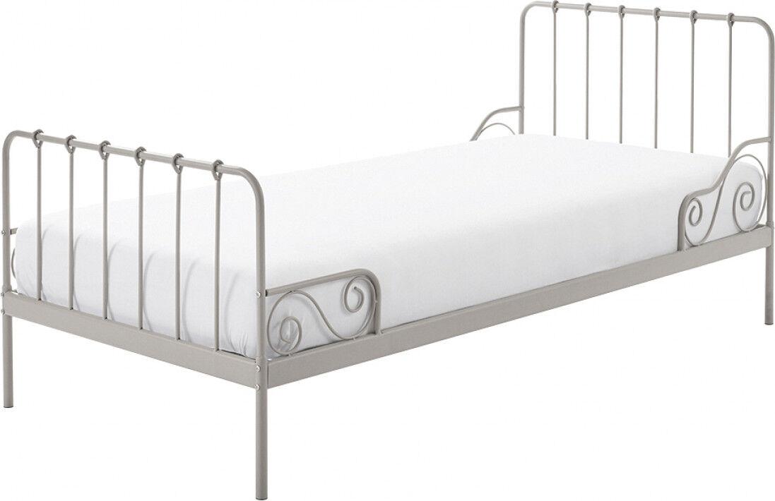 Destock Meubles Lit enfant métal laqué gris 90x200 ALICE