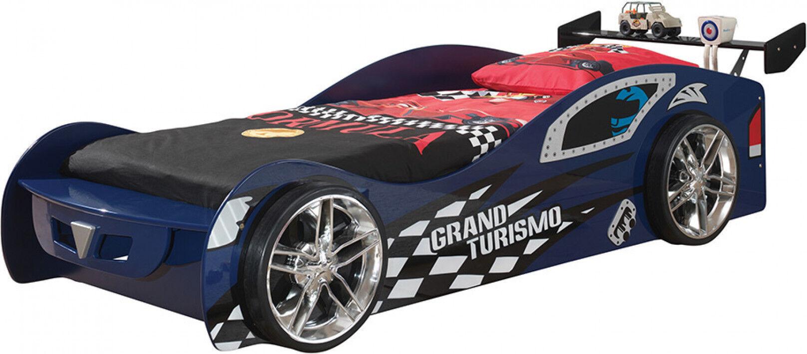 Destock Meubles Lit enfant voiture de course bleu 90x200