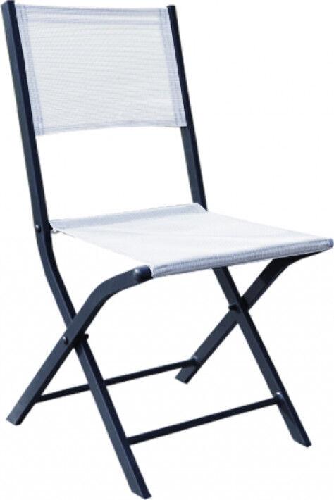 Destock Meubles Chaises de jardin Modulo pliantes aluminium gris textilène blanc (x2)