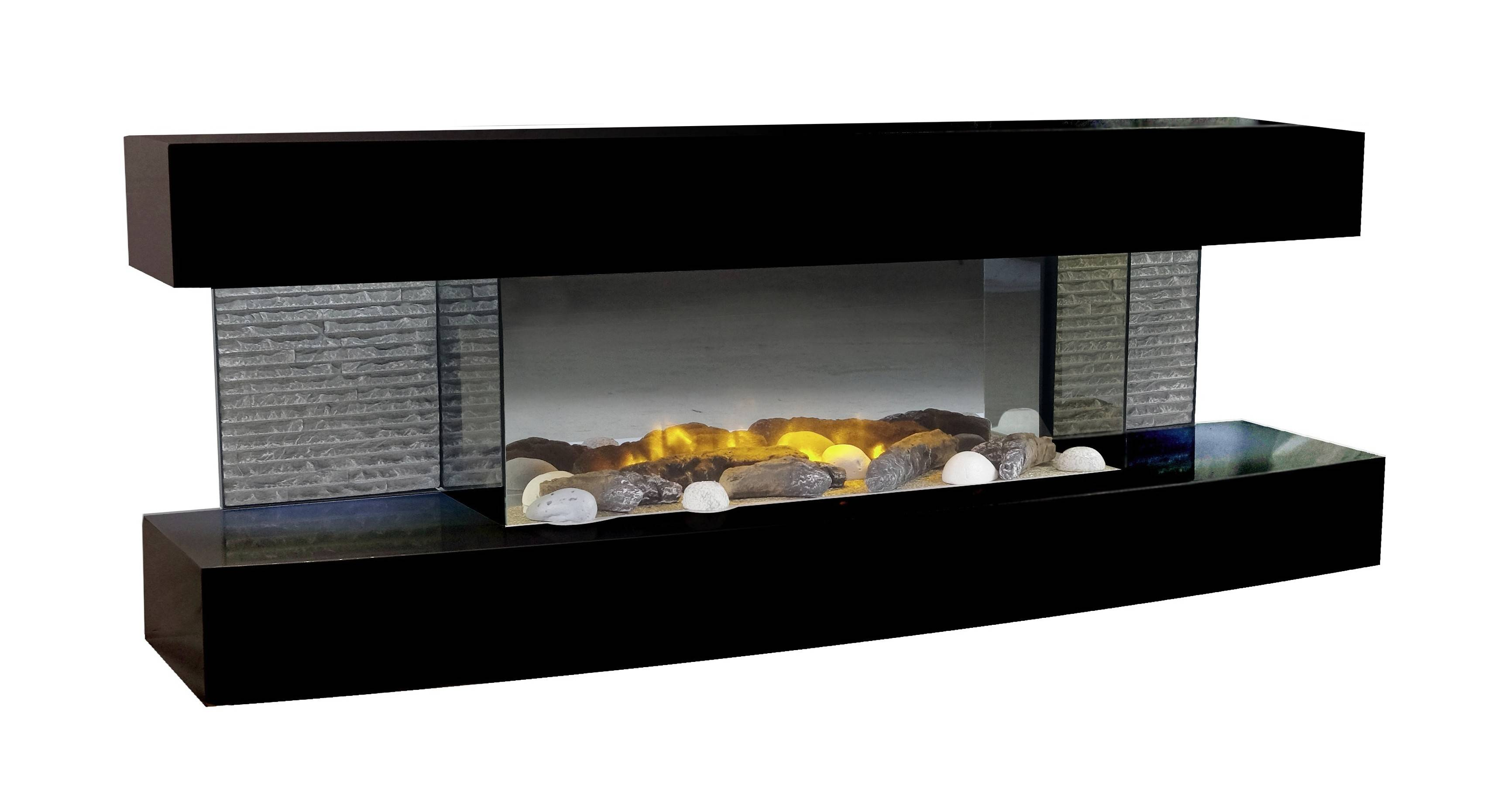 gdegdesign Cheminée électrique noire décorative lumineuse LED - Lounge