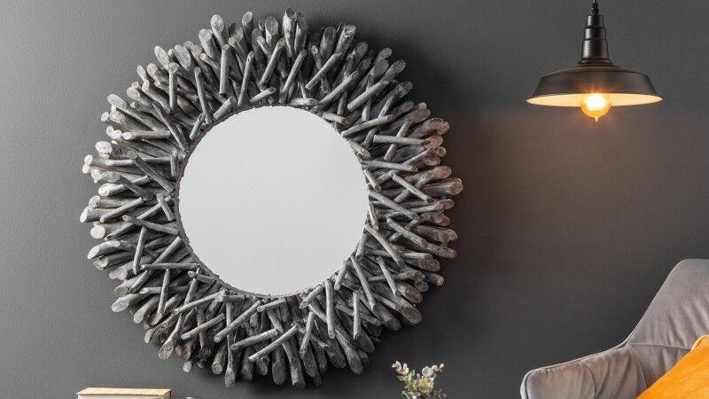 gdegdesign Miroir design rond cadre bois flotté gris - Roy