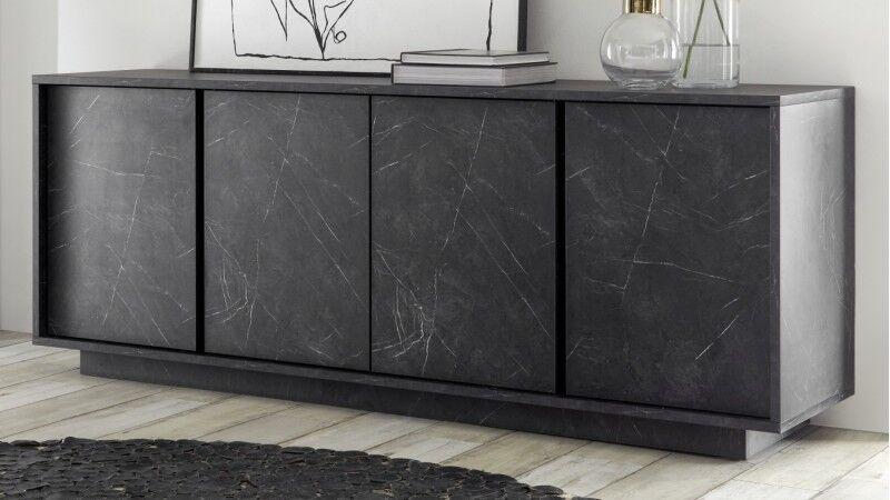 gdegdesign Buffet bahut décor marbre noir 4 portes - Ercole