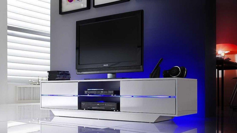 gdegdesign Meuble TV blanc uni avec LED - Mattia