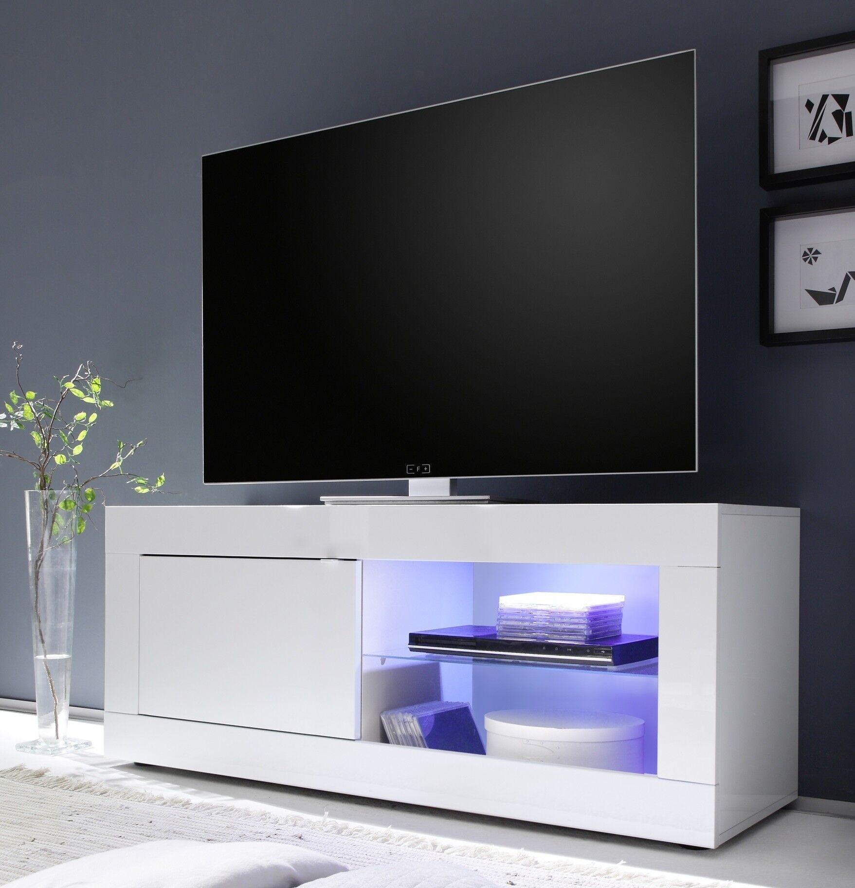gdegdesign Meuble TV 1 porte blanc uni avec LED - Lernig Small