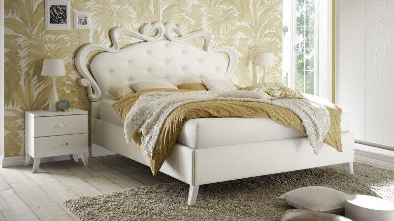 gdegdesign Lit blanc 160x200 cm simili cuir baroque capitonné - Velia