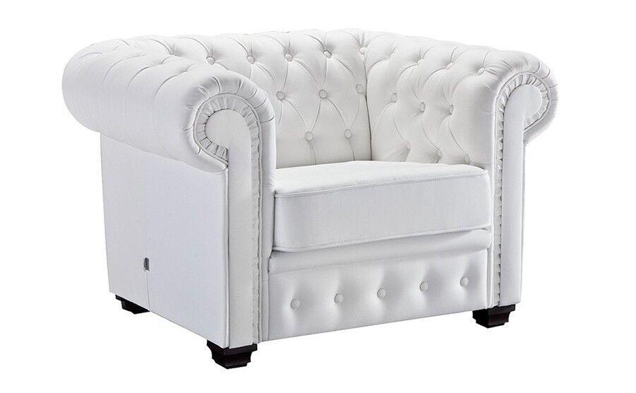 gdegdesign Fauteuil design Chesterfield blanc en cuir - Lerwick