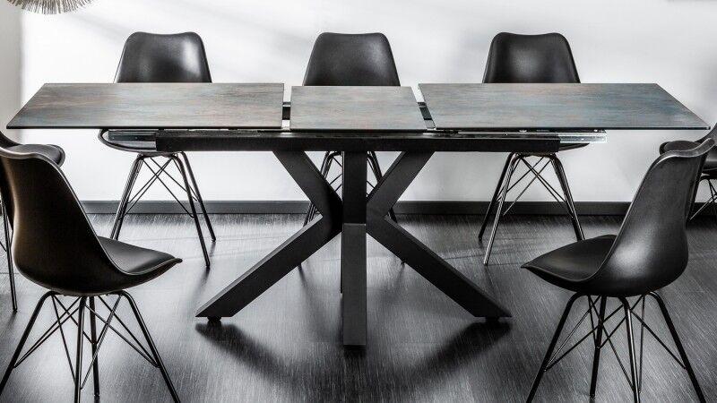 gdegdesign Table à manger extensible lave et acier gris 180 225 cm - Dirce